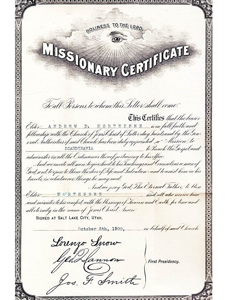 documents  u2013 mortensen family history