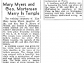 George A Mortensen and Mary Louise Myers, wedding announcement, Ogden Standard-Examiner, 12 Nov 1939, pg 6B